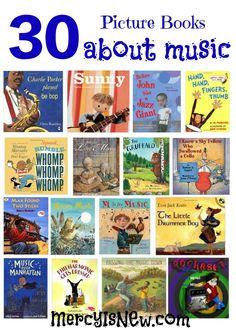 30 Picture Books about Music – His Mercy is New Preschool Books, Preschool Music Activities, Preschool Bulletin, Movement Activities, Book Activities, Summer Reading Program, Creative Curriculum, Music Classroom, Music Teachers