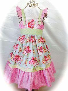 Girl Dress Size 6; Floral Garden Knot; Handmade, Everyday; 100 % Cotton #Handmade #Everyday