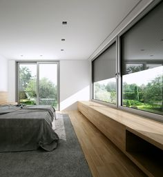 home decor crafts Bed In Living Room, Living Room Windows, Living Room Modern, Concrete Houses, Interior Decorating, Interior Design, Modern Bedroom Design, Apartment Interior, House Rooms
