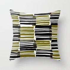 Green and Black stripes - drawn and digital pattern Throw Pillow - Sarah Bagshaw