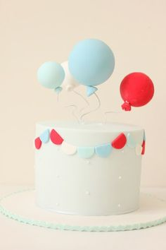 Very Cute Balloon Cake by Hello Naomi Pretty Cakes, Cute Cakes, Beautiful Cakes, Amazing Cakes, Fondant Cakes, Cupcake Cakes, Balloon Cake, Yummy Cupcakes, Sweet Cakes