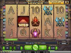 Egyptian Heroes Spielautomaten - Egyptian Heroes ist ein Spielautomat mit 5 Reels und 20 Paylines. Bei jedem Spin in dieses Spiel haben Sie die Möglichkeit, die goldene Bet-Linie zu gewinnen. Dies kann Ihre Gewinne bis zu verfünfachen. - http://www.spielautomaten-kostenlos.com/spiele/egyptian-heroes-spielautomaten #Spielautomaten #Jackpot #EgyptianHeroes