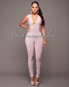 Chic Couture Online - Maxielle Dusty Mauve Lace-Up Sides Bandage Jumpsuit.(http://www.chiccoutureonline.com/maxielle-dusty-mauve-lace-up-sides-bandage-jumpsuit/)
