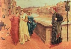 The first meeting of Dante and Beatrice