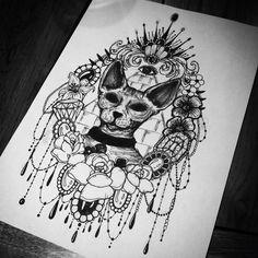 Sphinx cat tattoo flowers