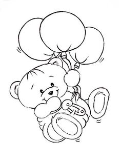 Coloring Pages - Teddy Bear Cute Coloring Pages, Coloring For Kids, Adult Coloring Pages, Coloring Books, Hand Embroidery Patterns, Embroidery Designs, Outline Drawings, Copics, Digital Stamps