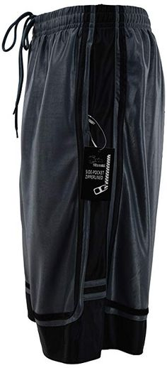 ChoiceApparel Mens Two Tone Training/Basketball Shorts with Pockets (S up to 4XL) (L, Zippered-Charcoal/Black) #CollageHoopsFever