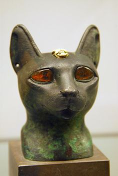 Ancient Egyption jeweled cat sculpture