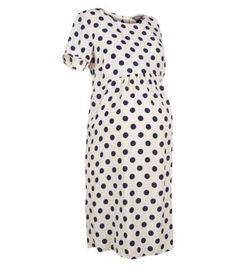 Maternity Cream Polka Dot T-Shirt Dress