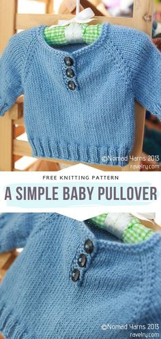 Baby Boy Knitting Patterns Free, Baby Sweater Knitting Pattern, Knitted Baby Cardigan, Knit Baby Sweaters, Knitted Baby Clothes, Simple Knitting Patterns, Baby Knits, Raglan Pullover, Baby Overall