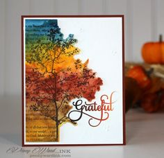 By Penny Ward. Stamp text and tree in black StazOn on white cardstock… Fall Cards, Holiday Cards, Penny Black Cards, Thanksgiving Cards, Watercolor Cards, Watercolor Tattoos, Creative Cards, Creative Shots, Card Tutorials