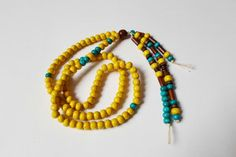 108 Mala Yellow Beads Necklace, Long Tassel Boho Necklace, Ethnic Hippie style Necklace, Indie Buddhist Mala Beads, Handmade Wood necklace