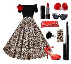Rockabilly Pinup outfit inspiration. Classic Red, Black and Leopard Print