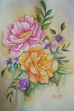 Tole Painting, Fabric Painting, Watercolor Cards, Watercolor Flowers, Fabric Paint Designs, Rose Images, Crafts Beautiful, Colorful Drawings, Ink Art