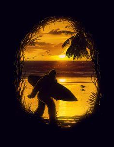 Secret Spot Surfer Bigfoot Art Print by Nicebleed