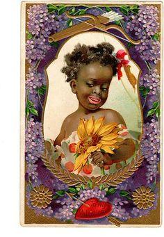 Victorian c.1910 Black Americana Valentine Postcard ~ Girl in Flowers