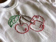 Hand Embroidered Onesie   Cherries by LaughRabbitJr on Etsy, $17.00