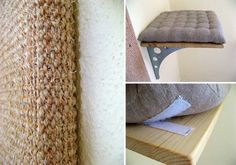 Eva's Custom Cat Shelves with Cushions and Sisal Scratcher — hauspanther