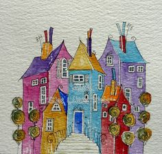 Houses together An original watercolour painting by shelikesthis, 20.00