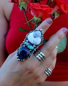 Dendrite Opal Turquoise Labradorite Statement by SterlingToLove #handmadejewelry #labradorite