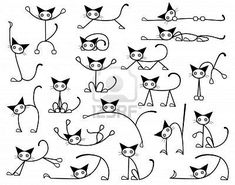 Illustration about Collection of editable vector cat sketches in various positions. Illustration of diverse, doodle, selection - 6760613 Gato Doodle, Doodle Art, Doodle Drawings, Easy Drawings, Tangle Doodle, Doodle Ideas, Cat Drawing, Painting & Drawing, Drawing Ideas