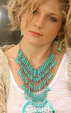 dreamcatcher. turquoise bib necklace.