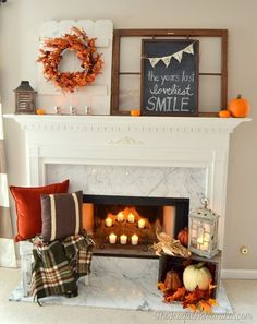 Want to create a Gorgeous fall mantel and hearth? Combine rustic wooden crates spilling over with cozy warm blankets and pillows, lanterns lit with pumpkin spice candles, faux heirloom pumpkins, and a rustic welcoming sign to draw attention and center the whole look. A one stop shop for the ultimate fall look, every piece under $100!!! #farmhouse #falldecor #rustic #autumn #afflink