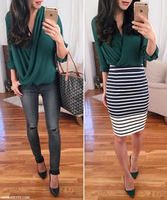 Casual & dressy outfit ideas // wrap blouse styled 2 ways, with gray jeans or striped pencil skirt
