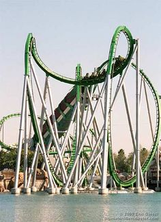 The Incredible Hulk roller coaster - Universal Studios. This is my favorite roller coaster ever. I get an adrenaline rush just thinking about it!