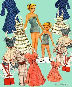// Fenderskirts // Vintage 1950s Mother Daughter Paper Dolls Digital File //