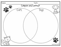 Are your students interested in dogs and cats? What a wonderful way to teach the skill of comparing and contrasting! Your students will use this product to record the facts and information that they learn about cats and dogs. Use the internet and check out books from the library so your students can learn facts about these animals and then compare and contrast them.