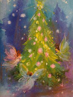 60s Mod Fairies Decorate The Tree Vintage Christmas Card
