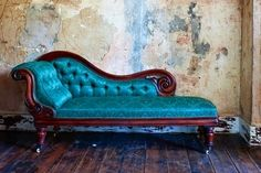 Photo Detail.   Art Nouveau Peacock Blue Satin Brocade Chaise.  Uploaded by Dee.  This piece of furniture is a part of my personal heaven!