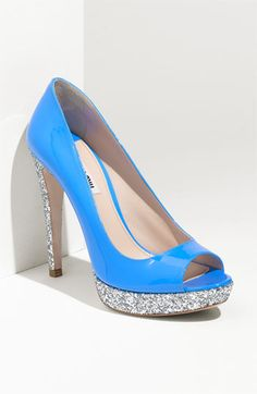 miu mui bright sky blue patent leather peep toe platform pump with silver glitter platform and heel - also comes in white patent leather