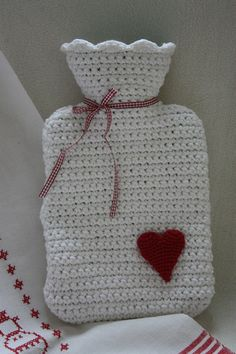"""No, actually we do not """"celebrate"""" Valentine& Day, but I just wanted to crochet a small hot water bottle and now it is . Crochet Kitchen, Crochet Home, Love Crochet, Beautiful Crochet, Crochet Crafts, Knit Crochet, Blanket Crochet, Knitting Projects, Crochet Projects"""