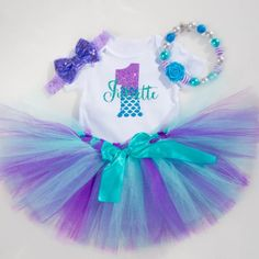 Personalized Mermaid First Birthday outfit, mermaid tutu outfit for girls
