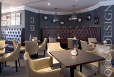 hotel interior design bar interior design zinc bar counter leather chairs grey - Traditional Hotel Interior