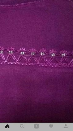 This Pin was discovered by Yas Crochet Trim, Filet Crochet, Crochet Lace, Saree Tassels Designs, Twine, Hand Sewing, Diy And Crafts, Weaving, Embroidery