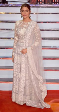 Anushka Sharma attends the 'Umang Mumbai Police Show at Bandra Kurla Complex in Mumbai (Image Yogen Shah) is part of Indian attire - Lace Anarkali, Anarkali Dress, White Anarkali, Anarkali Suits, Indian Gowns Dresses, Pakistani Bridal Dresses, Indian Attire, Indian Ethnic Wear, Ethnic Outfits