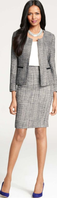 Chic Professional Woman Work Outfit. Etienne Tweed Jacket  Skirt