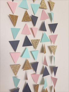 Mint, Light Pink, Charcoal Grey & Gold Triangle Garland. Geometric Garland. Garland Photo Prop. Garland Backdrop. Wedding Garland.
