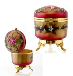 Antique French Eglomise Enameled Art Glass Hinged Jewelry Trinket Box Casket | eBay