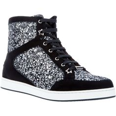 JIMMY CHOO glitter sneaker (€300) ❤ liked on Polyvore featuring shoes, sneakers, shoes/boots, rubber sole shoes, round cap, welted shoes, lace shoes and glitter high top sneakers