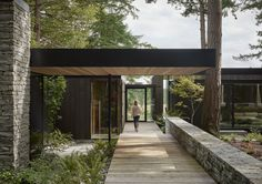 Architects Eric Walter and Steve Mongillo, principals at Seattle-based mwworks Outside In: A Multi-Generational Retreat on Whidbey Island Welcomes Nature Inside - Remodelista Douglas Fir Tree, Chicken Shed, Wood Walkway, Agricultural Buildings, Modernisme, Whidbey Island, Fish Ponds, Forest House, Mid Century House