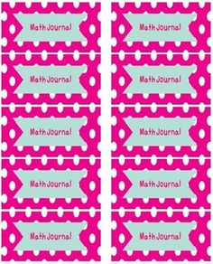 There are 3 different styles in this variety pack: bright pink polka dots, colorful polka dots, and colorful zigzags. These Math Journal Labels...