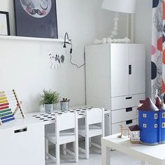Bright and simple learning desk Baby Bedroom, Baby Boy Rooms, Little Girl Rooms, Girls Bedroom, Ikea Stuva, Ideas Habitaciones, Home Decoracion, Ikea Kids, Toddler Rooms
