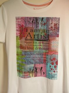 What a fantastic Gelli printed wearable art tshirt!  She describes what she used and how she made it.
