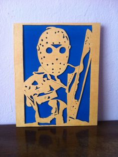 Wooden picture, draft sawing, varnishing maintaining the natural look of wood, painted wooden back background in blue, size: 24, 5cm high x 19, 5cm