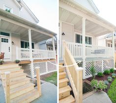 We're one step closer to front porch completion (this season anyway)! Our porch is stained!Staining our deck ended up turning into a thing, as most projects (big or small) tend to do with us. (Truly, we drive ourselves crazy sometimes.) Initially, we planned to use a product such as Behr's…