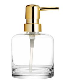 Soap dispenser in transparent glass with plastic pump | H&M Home